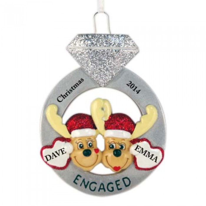 Wedding Christmas Ornaments: Engagement Mooses Personalized Christmas Ornament
