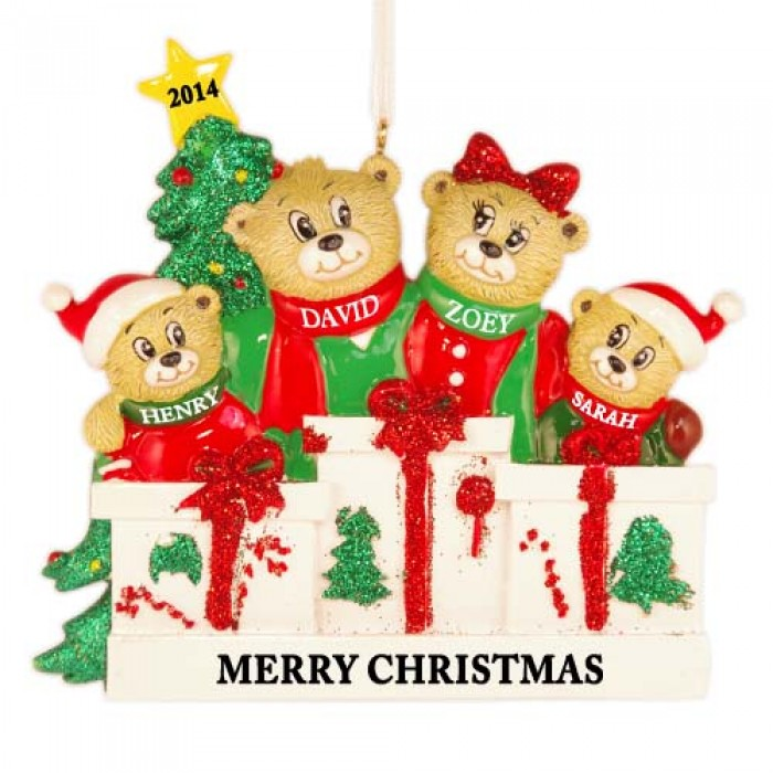 Bear love family of 4 personalized christmas ornament for Family of 4 christmas ornament