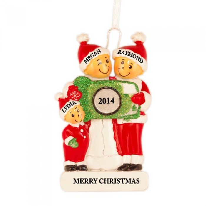 Camera family of 3 personalized christmas ornament for Family christmas ornaments to make