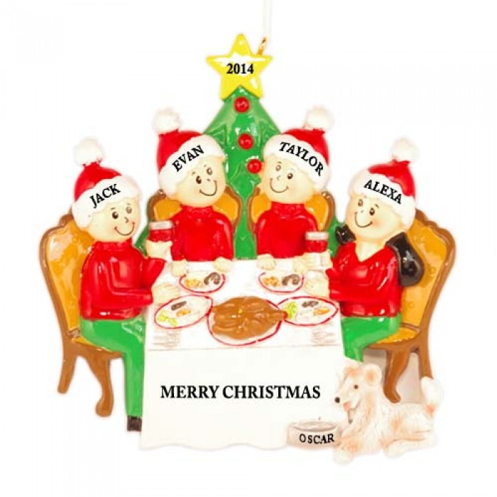 Christmas dinner family of 4 personalized christmas for Family of 4 christmas ornament