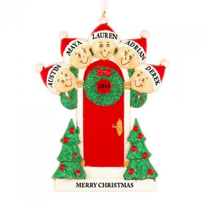 Holly door family of 5 personalized christmas ornament for Family christmas ornaments to make