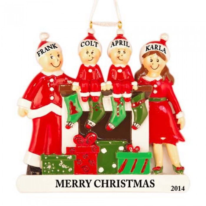Fireplace buddies family of 4 personalized christmas for Family of 4 christmas ornament