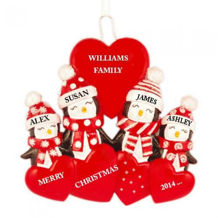 Penguin love family of 4 personalized christmas ornament for Family of 4 christmas ornament