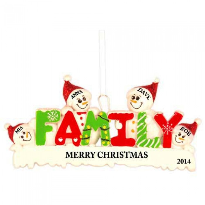 Snow family of 4 personalized christmas ornament for Family of 4 christmas ornament