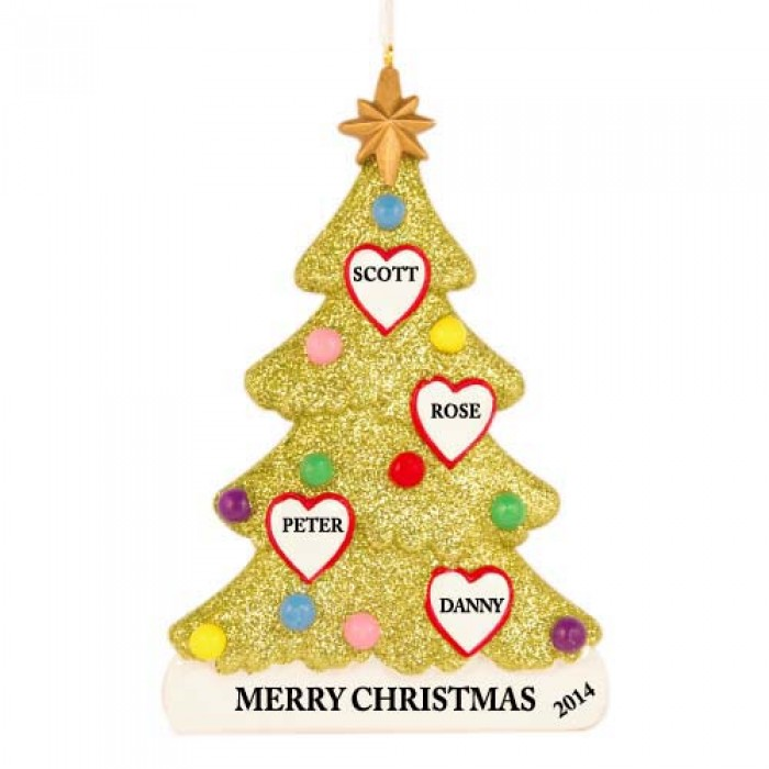 Tree love family of 4 personalized christmas ornament for Family of 4 christmas ornament