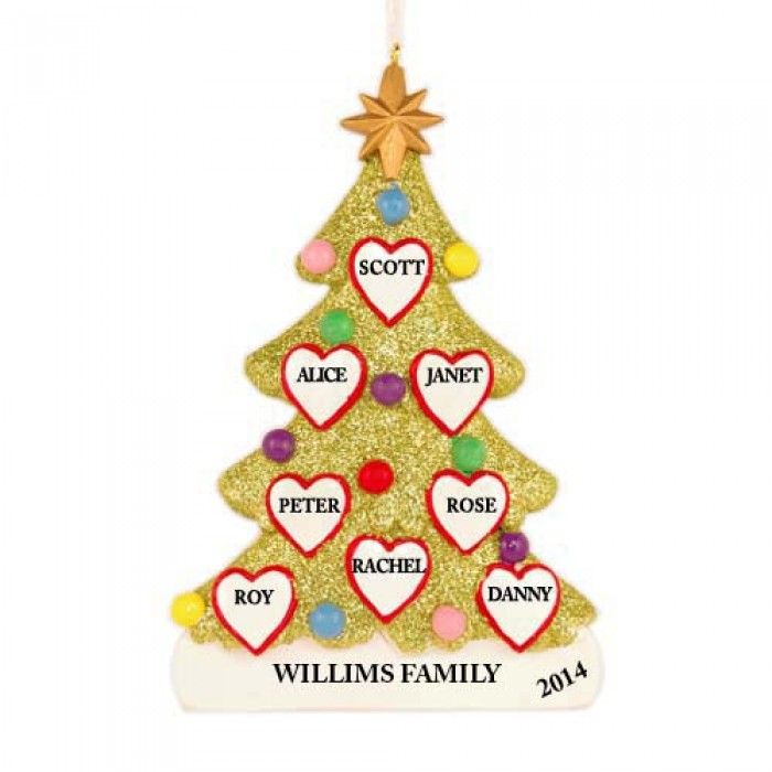 Tree love family of 8 personalized christmas ornament for Custom christmas tree ornaments