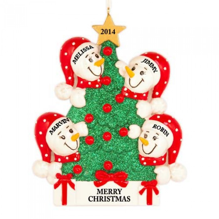 Tree snowman family of 4 personalized christmas ornament for Family of 4 christmas ornament