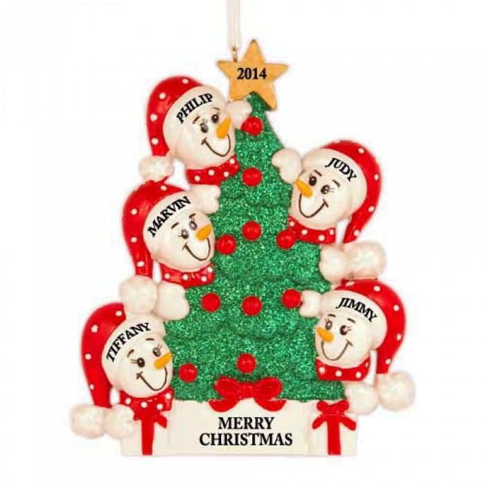 Tree Snowman Family of 5 Personalized Christmas Ornament ...