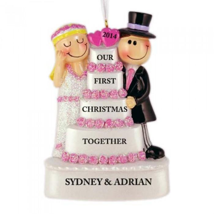 Wedding Cake Couple Personalized Christmas Ornament ...