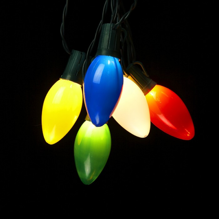 10 Light Multi Colored Bulb Light Set Christmas And City