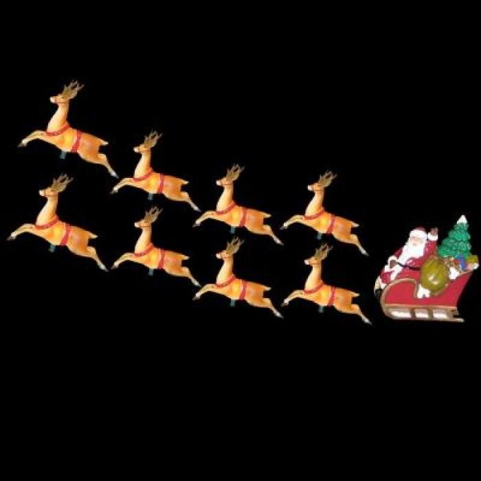christmas lights 10 light santa sleigh and eight reindeer light set. Black Bedroom Furniture Sets. Home Design Ideas