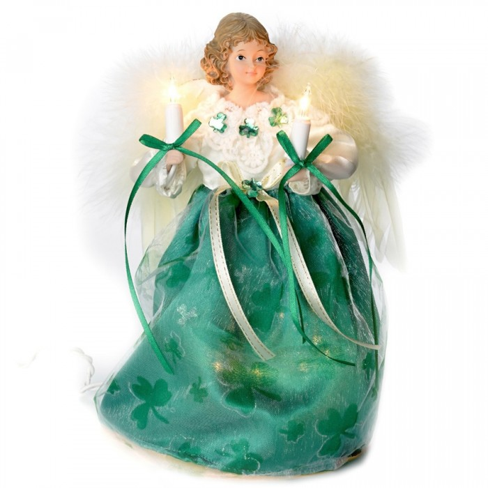 """Small Angel Christmas Tree Topper: 9"""" Lighted Kelly Green Irish Angel Christmas Tree Topper"""