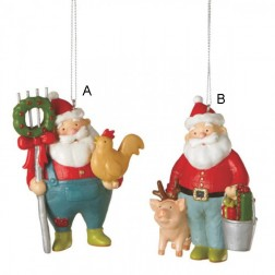 Santa Farmer Christmas Ornament