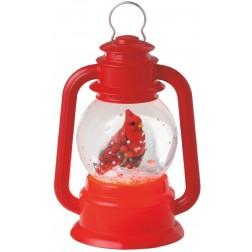 Lighted Bright Red Virginia Cardinal Bird Lantern Mini Shimmer