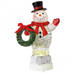 Lighted Medium Snowman with Wreath Mini Shimmer