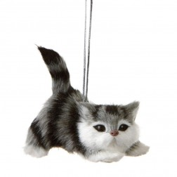 Grey and White Cat Ornament