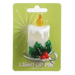 Holiday Candle Light Up Pin Acrylic Jewelry