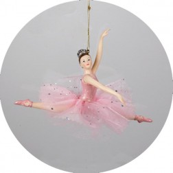 Ballerina Ballet Girl Leaping Christmas Ornament in Pink Tutu