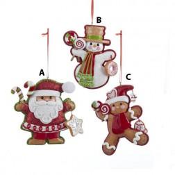 Santa, Snowman and Gingerbread Man Ornament