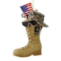 U.S. ARMY BOOT WITH USA FLAG, HAT AND SUN GLASSES ORNAMENT