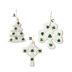 Porcelain Shamrock Covered Christmas Ornaments