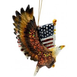 Patriotic Eagle with the American Flag Ornament