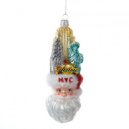NYC Santa Head Glass Ornament