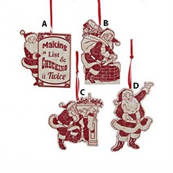 3,5-4 Inch Wooded Santa Ornament