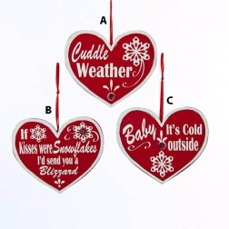 Wooden Red/White Heart with Saying Ornament
