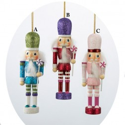 Glitter Hollywood Christmas Nutcracker Ornament Holding Lollipop
