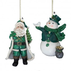 Irish Snowman or Santa Christmas Ornament