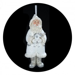 Blue/White  Santa With Bird House Christmas Ornament