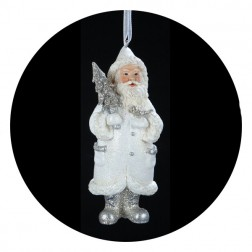 Blue/White Santa With Christmas Tree Ornament