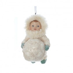 Silent Luxury Vintage-Style Leaning Snow Child Christmas Ornament