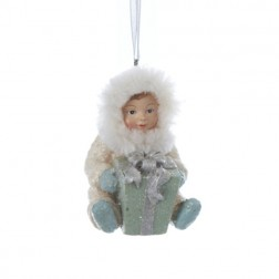 Silent Luxury Vintage-Style Sitting Snow Baby with Gift Christmas Ornament