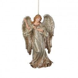Glitter Platinum Angel Christmas Ornament