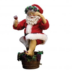 Fabriche Grape-Stomping Wine Santa Figurine