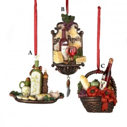 Tuscan Winery Cheese, Gift Basket or Oil Christmas Ornament