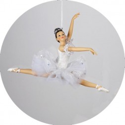 Ballerina Ballet Girl Leaping Christmas Ornament in White Tutu