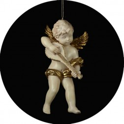 Ivory And Gold Vinyl Cupid Ornaments