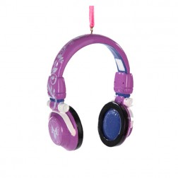 Purple Headphone Christmas Ornament