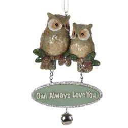 "Owl with Dangling Sign ""Owl Always Love You"""