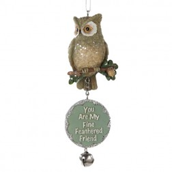 "Owl with Dangling Sign ""You Are My Fine Feathered Friend"""