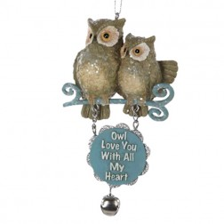 "Owl with Dangling Sign ""Owl Love You With All My Heart"""