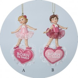 "Pretty in Pink ""Born to Dance"" Ballerina Dance Christmas Ornament"