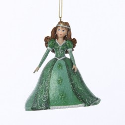 "Pretty As a Princess ""Catherine"" Green Gown Brown Hair Christmas Ornament"