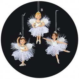 White & Silver Lilttle Ballerina Dance Girl Ornament with Wings
