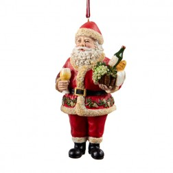 Resin Wine Santa Ornament