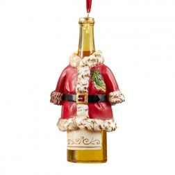 Wine Bottle in  Santa Coat Ornament