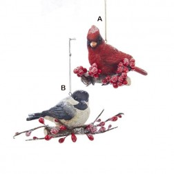 Cardinal and Chickadee Ornament